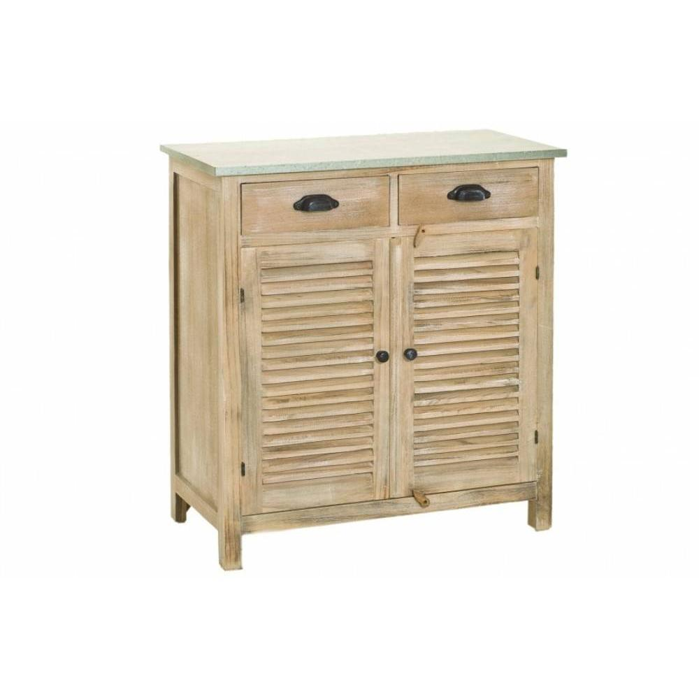 commodes meubles et rangements meuble 2 portes 2 tiroirs sarah en bois de paulownia style. Black Bedroom Furniture Sets. Home Design Ideas