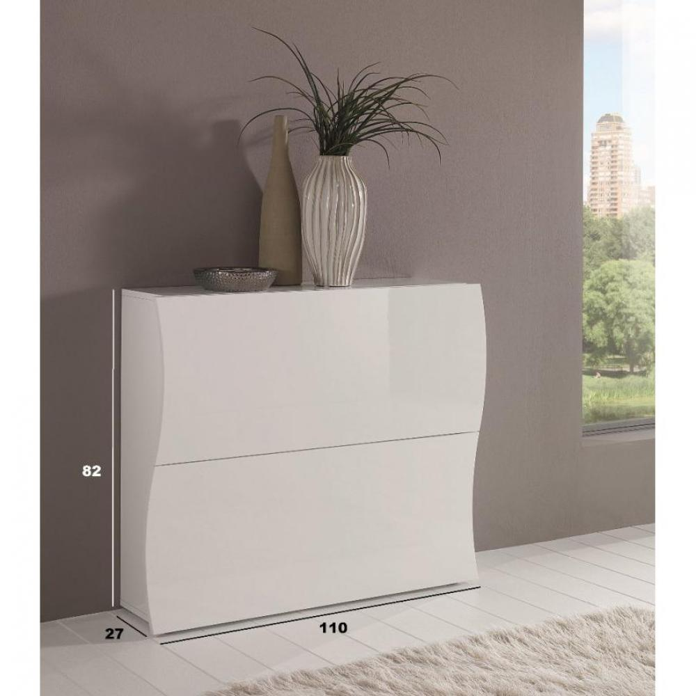 meubles chaussures meubles et rangements meuble chaussures onda 2 portes blanc brillant. Black Bedroom Furniture Sets. Home Design Ideas