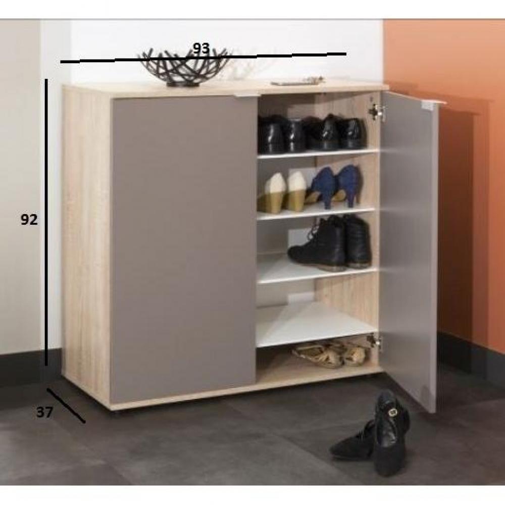 meubles chaussures meubles et rangements meuble chaussures class design ch ne 2 portes taupe. Black Bedroom Furniture Sets. Home Design Ideas