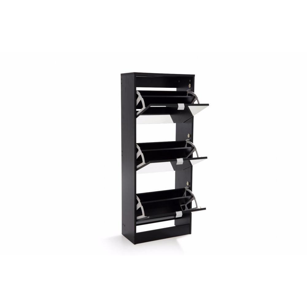 Meubles chaussures meubles et rangements meuble chaussures rack1 noir 3 p - Meuble chaussure noir ...