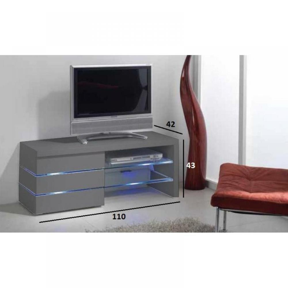 trendy armoires lits meuble tv leon gris mat et lumire led. Black Bedroom Furniture Sets. Home Design Ideas
