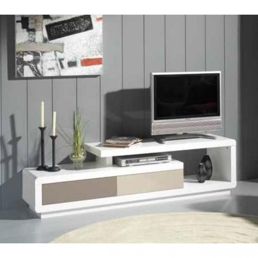 meubles tv meubles et rangements meuble tv seville blanc 2 tiroirs creme et taupe inside75. Black Bedroom Furniture Sets. Home Design Ideas