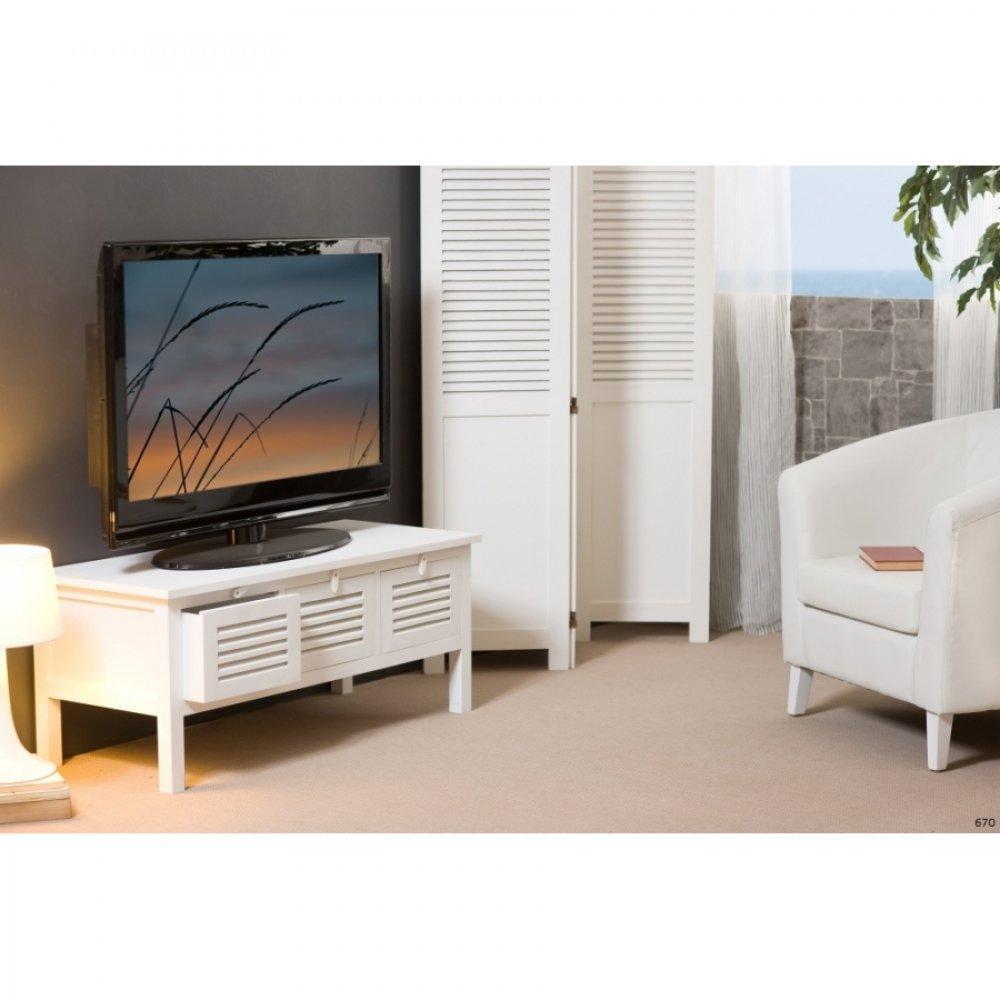 Meubles tv meubles et rangements meuble tv 3 tiroirs eva for Meuble tv bois blanc