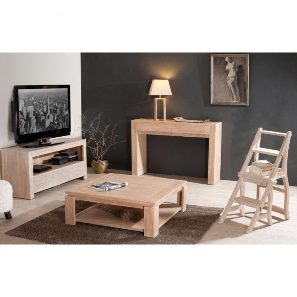 meubles tv meubles et rangements meuble tv api ines 3 tiroirs en teck blanchi inside75. Black Bedroom Furniture Sets. Home Design Ideas