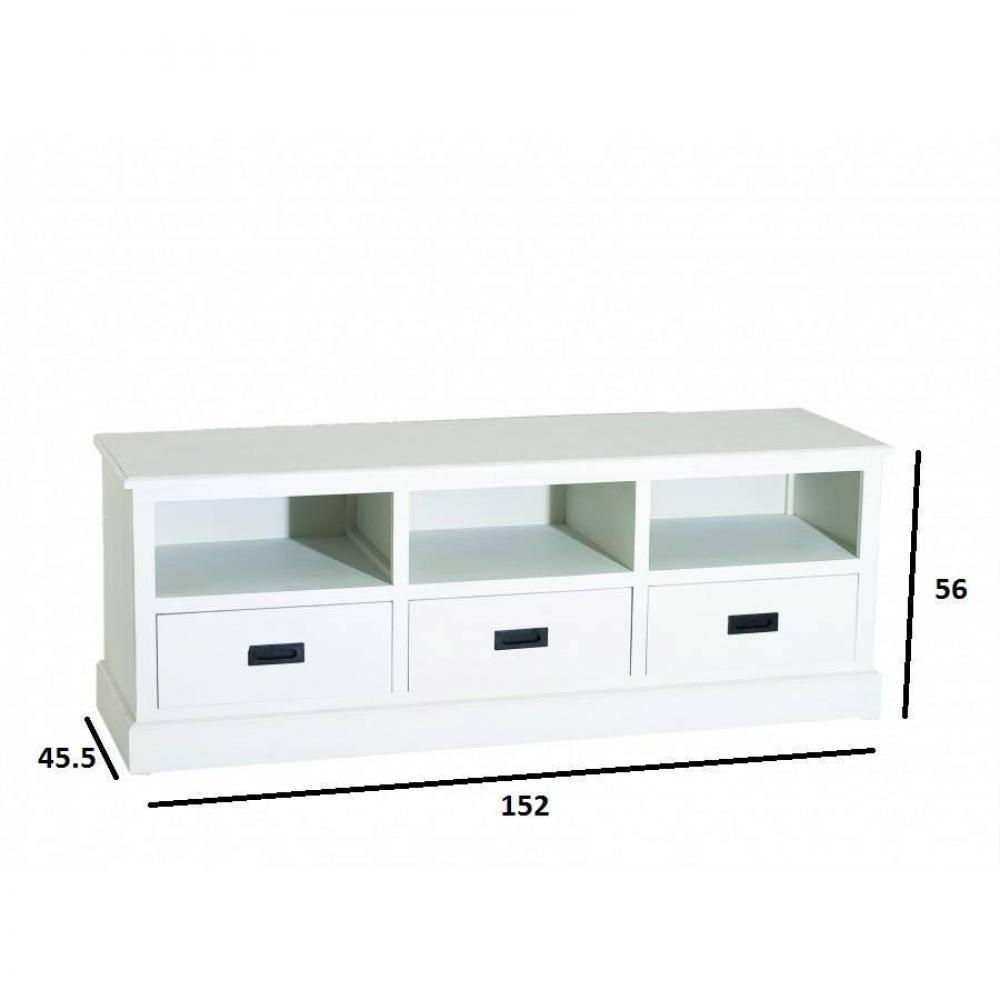 meubles tv meubles et rangements meuble tv 3 niches 3 tiroirs garance en pin style charme et. Black Bedroom Furniture Sets. Home Design Ideas