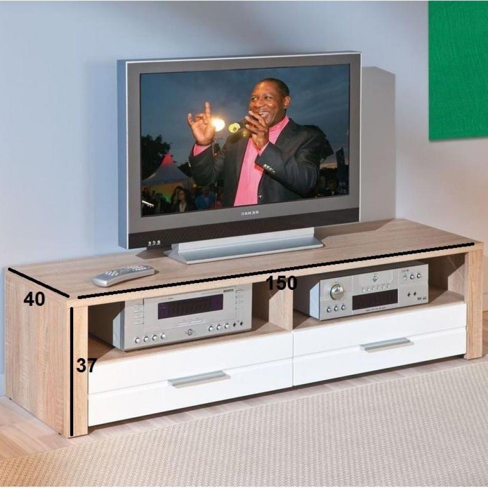 meubles tv meubles et rangements meuble tv absoluto 2 tiroirs et 2 niches en bois blanc. Black Bedroom Furniture Sets. Home Design Ideas