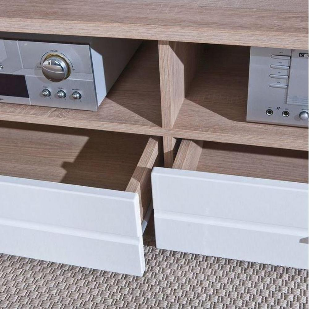 Meuble TV ABSOLUTO 2 tiroirs et 2 niches en bois blanc brillant et ...