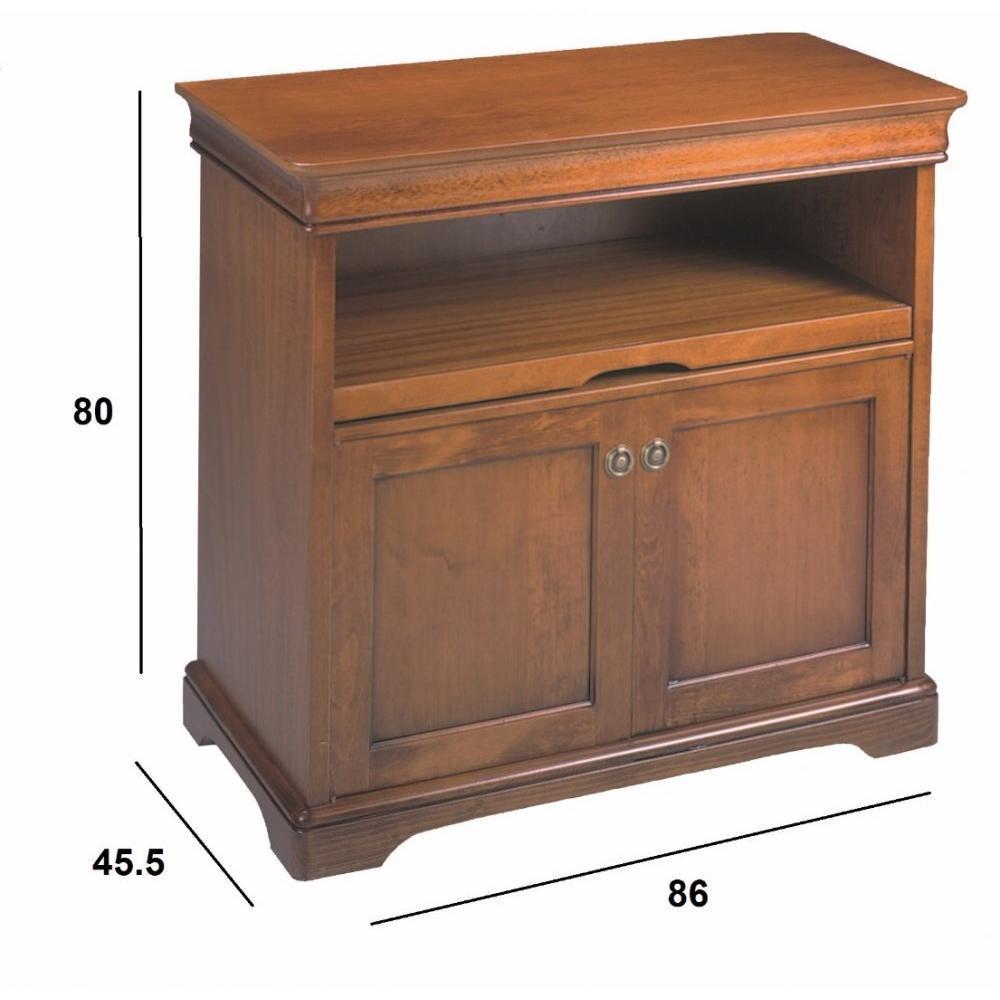 Meubles tv meubles et rangements meuble tv balzac 2 portes et plateau coulissant de style for Meuble tv coulissant