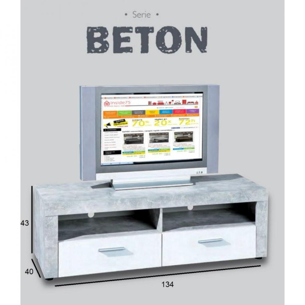 ... et rangements, Meuble TV 2 tiroirs et 2 niches aspect béton et blanc