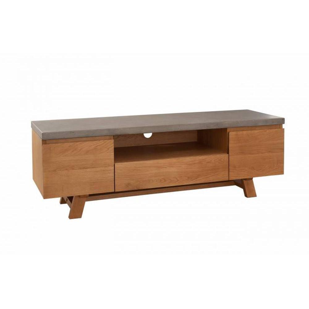 meubles tv meubles et rangements meuble tv design industriel nino en ch ne plateau en b ton. Black Bedroom Furniture Sets. Home Design Ideas