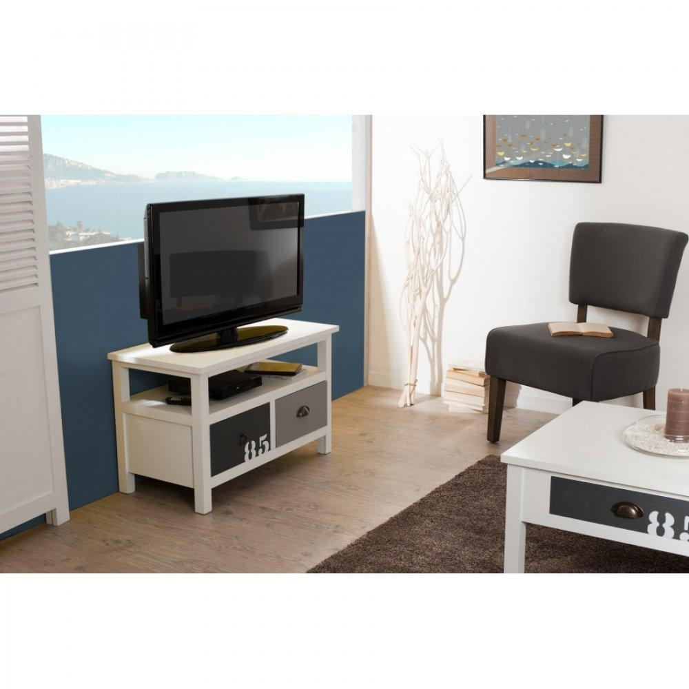 meubles tv meubles et rangements meuble tv 2 tiroirs hugo style bord de mer inside75. Black Bedroom Furniture Sets. Home Design Ideas