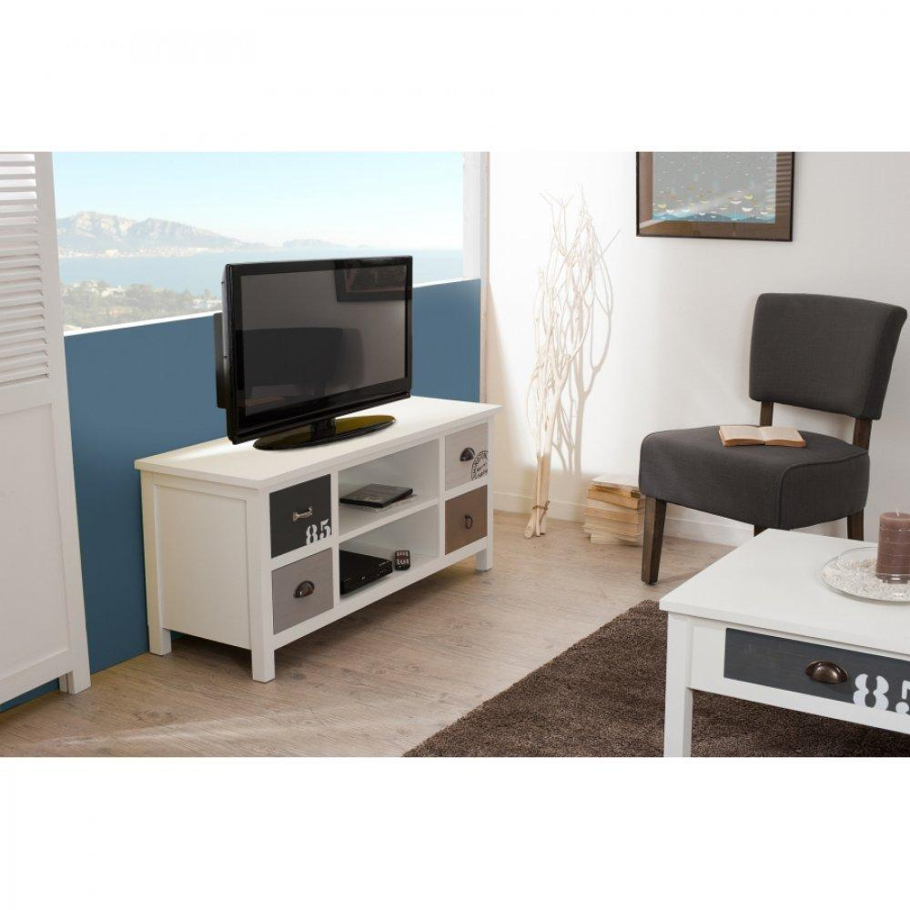 meubles tv meubles et rangements meuble tv 4 tiroirs hugo style bord de mer inside75. Black Bedroom Furniture Sets. Home Design Ideas