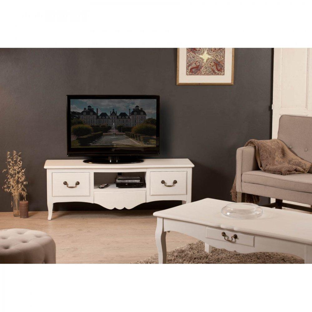 Meubles tv meubles et rangements meuble tv blanc 3 for Meuble campagne chic