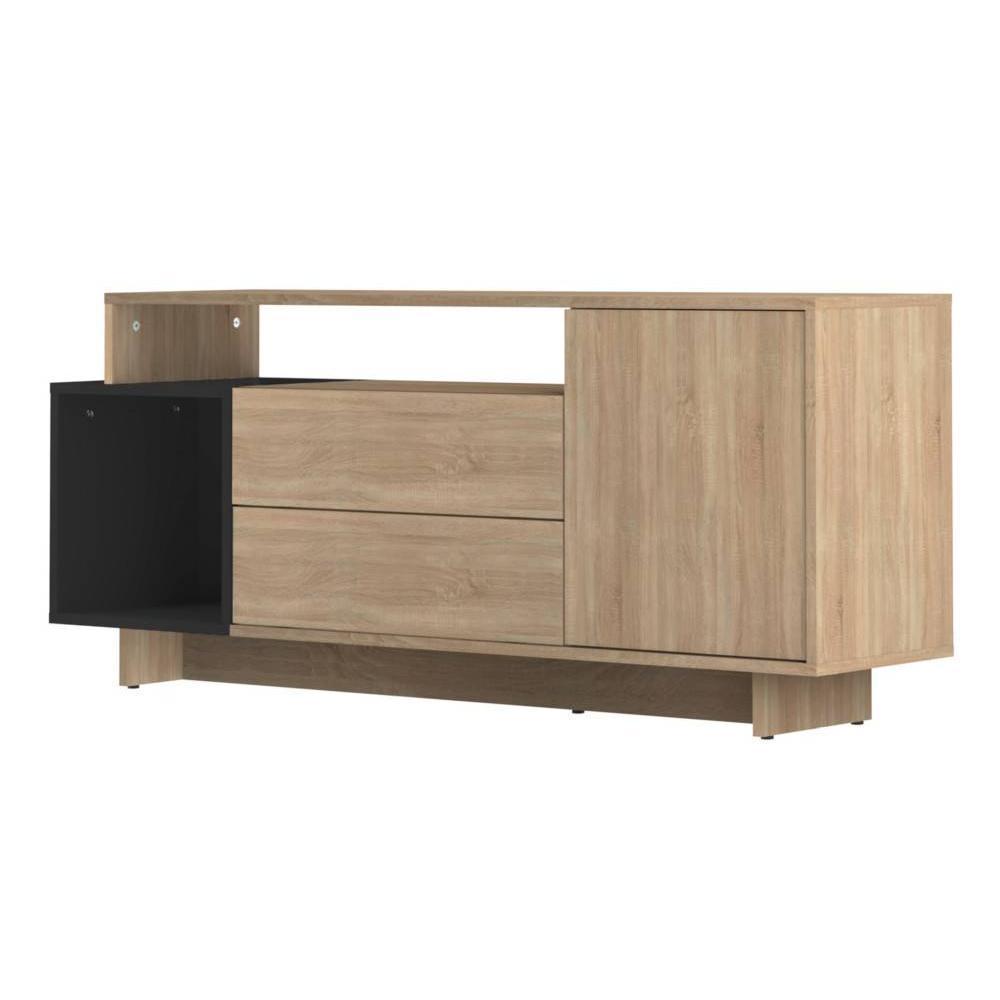 Meuble tv bois noir mat maison design for Meuble tv noir bois