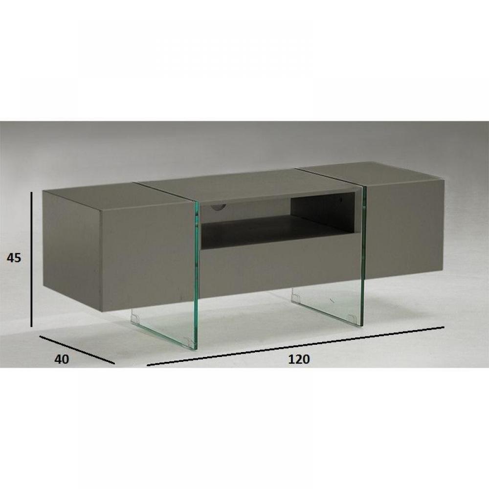 Meuble tv design delta 120 x 40 cm taupe avec pi tement en verre 2 portes 1 - Meuble tv design taupe ...