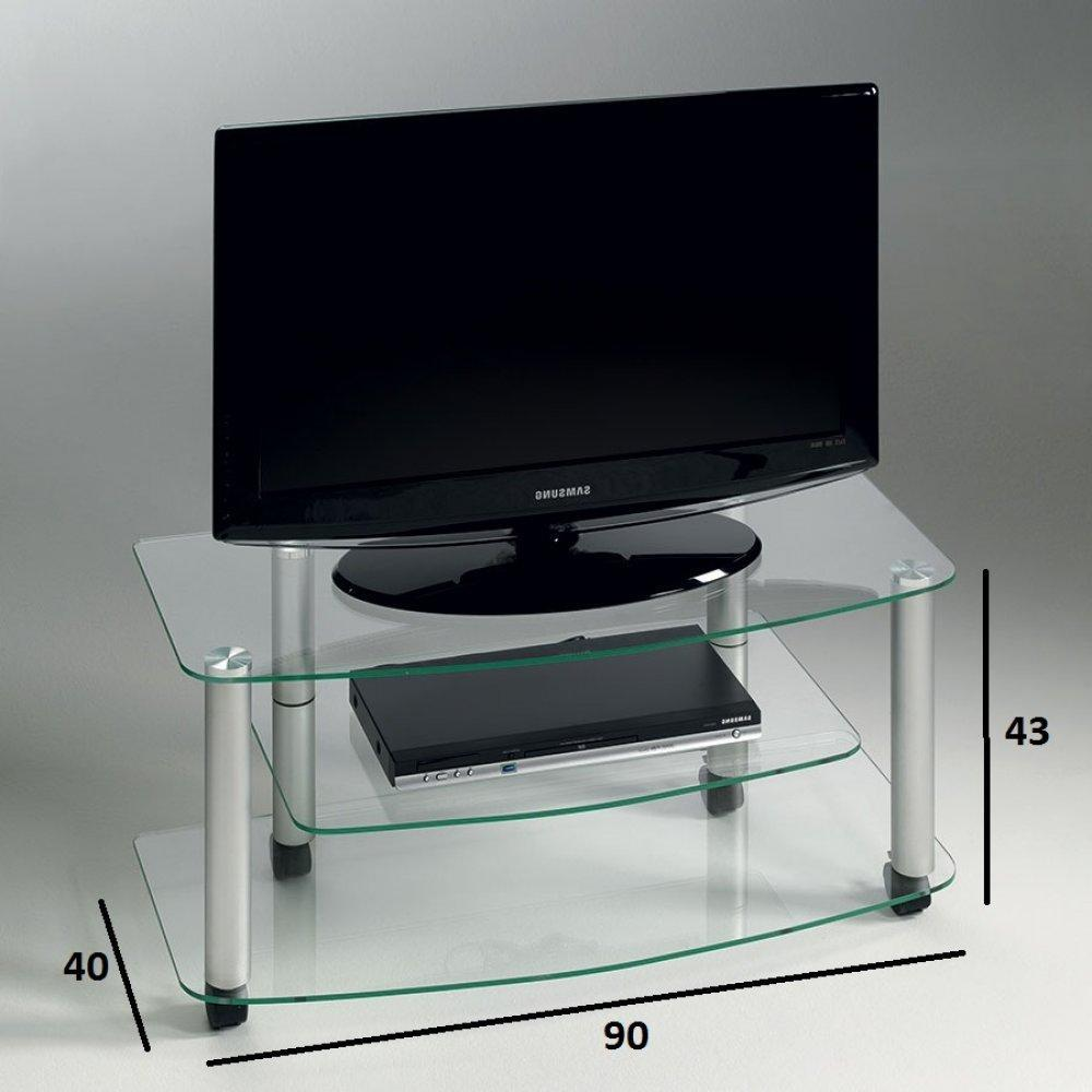 Meuble tv design verre transparent solutions pour la for Meuble tv verre