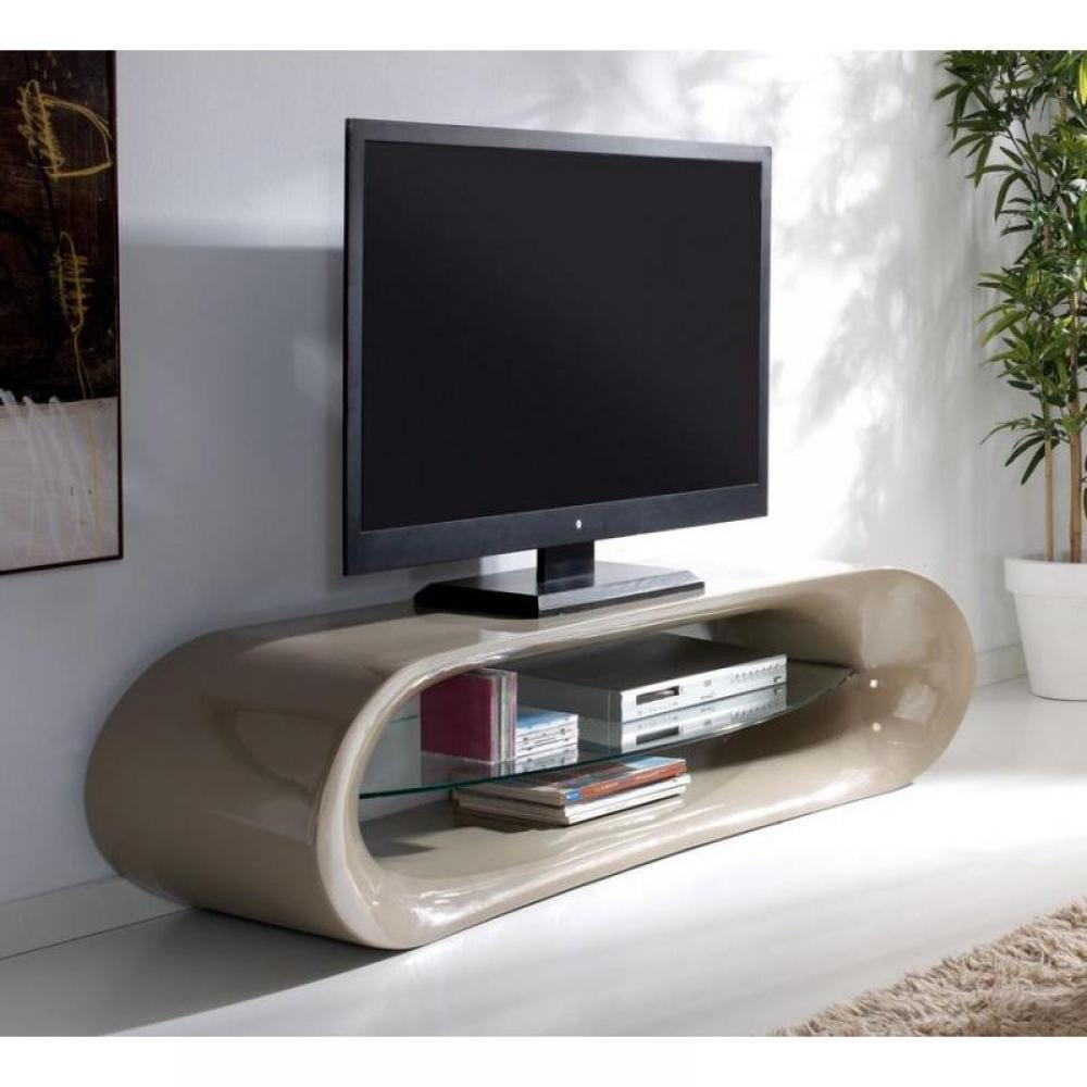 meubles tv meubles et rangements meuble tv design ka na en fibre de verre taupe brillant et. Black Bedroom Furniture Sets. Home Design Ideas