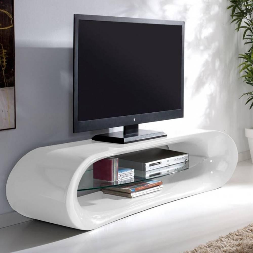 meubles tv meubles et rangements meuble tv design ka na en fibre de verre blanc brillant et. Black Bedroom Furniture Sets. Home Design Ideas