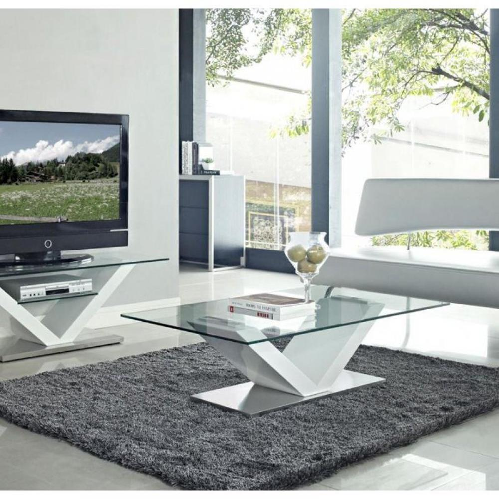 meubles tv meubles et rangements meuble tv design kenny en verre et pi tement en acier laqu. Black Bedroom Furniture Sets. Home Design Ideas