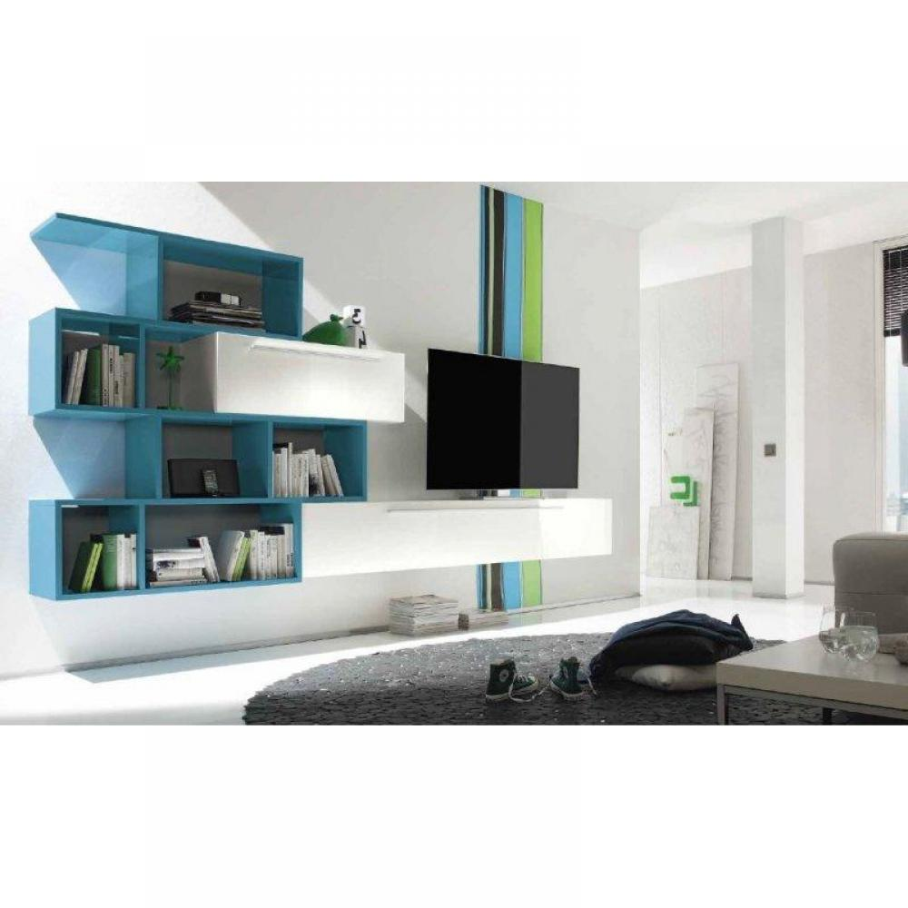 ensemble mural tv meubles et rangements meuble tv design primera shelf blanc brillant et bleu. Black Bedroom Furniture Sets. Home Design Ideas