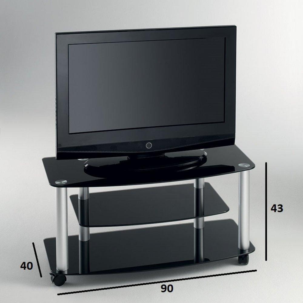meubles tv meubles et rangements meuble tv effel verre tremp noir inside75. Black Bedroom Furniture Sets. Home Design Ideas