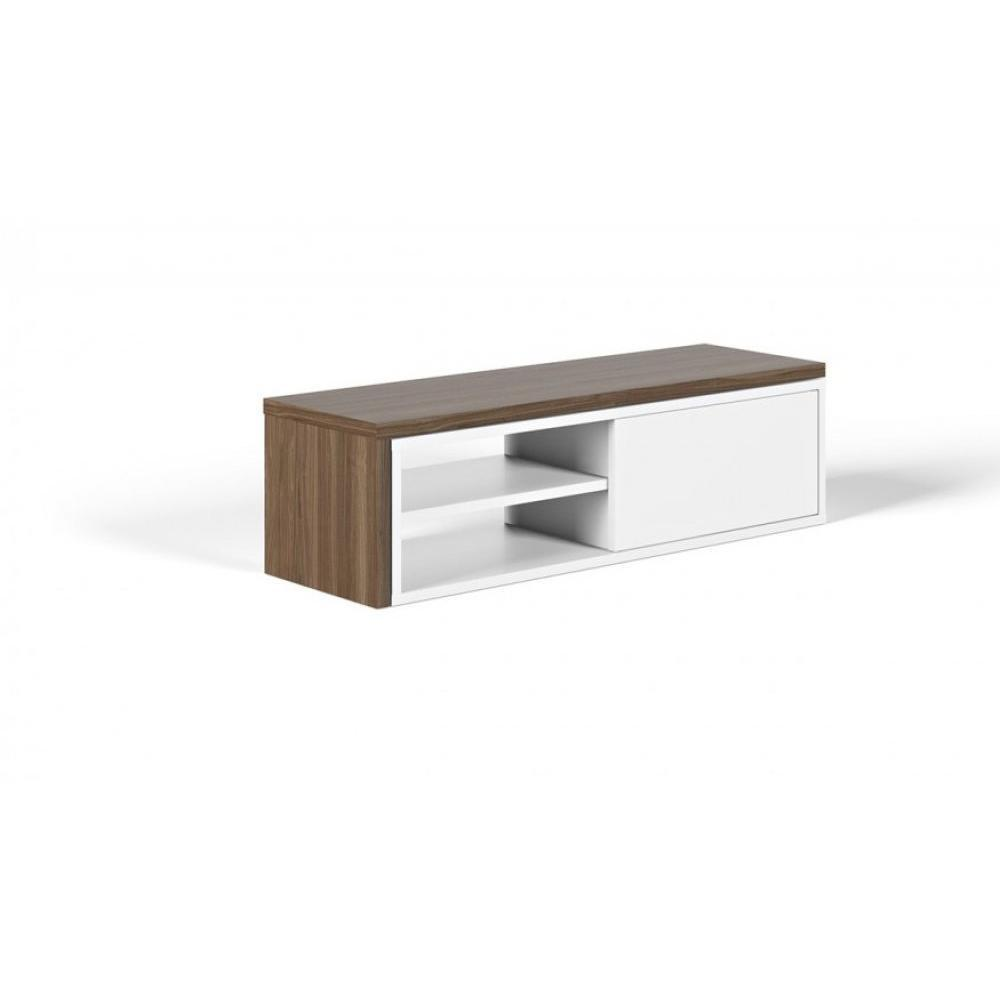 meubles tv meubles et rangements temahome meuble tv modulable move blanc et noyer avec1 porte. Black Bedroom Furniture Sets. Home Design Ideas