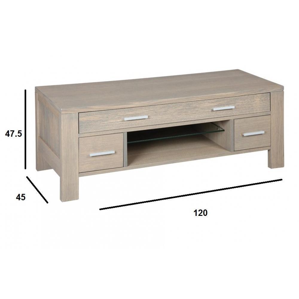 meuble tv hans en ch ne massif gris taupe. Black Bedroom Furniture Sets. Home Design Ideas