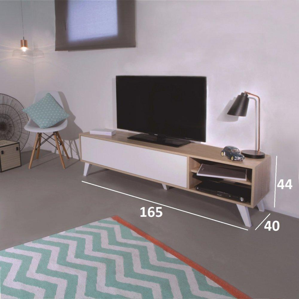 Meuble Tv Scandinave Design : , Meuble Tv Prism Design Scandinave 1 Porte Abattant Mélaminé Blanc