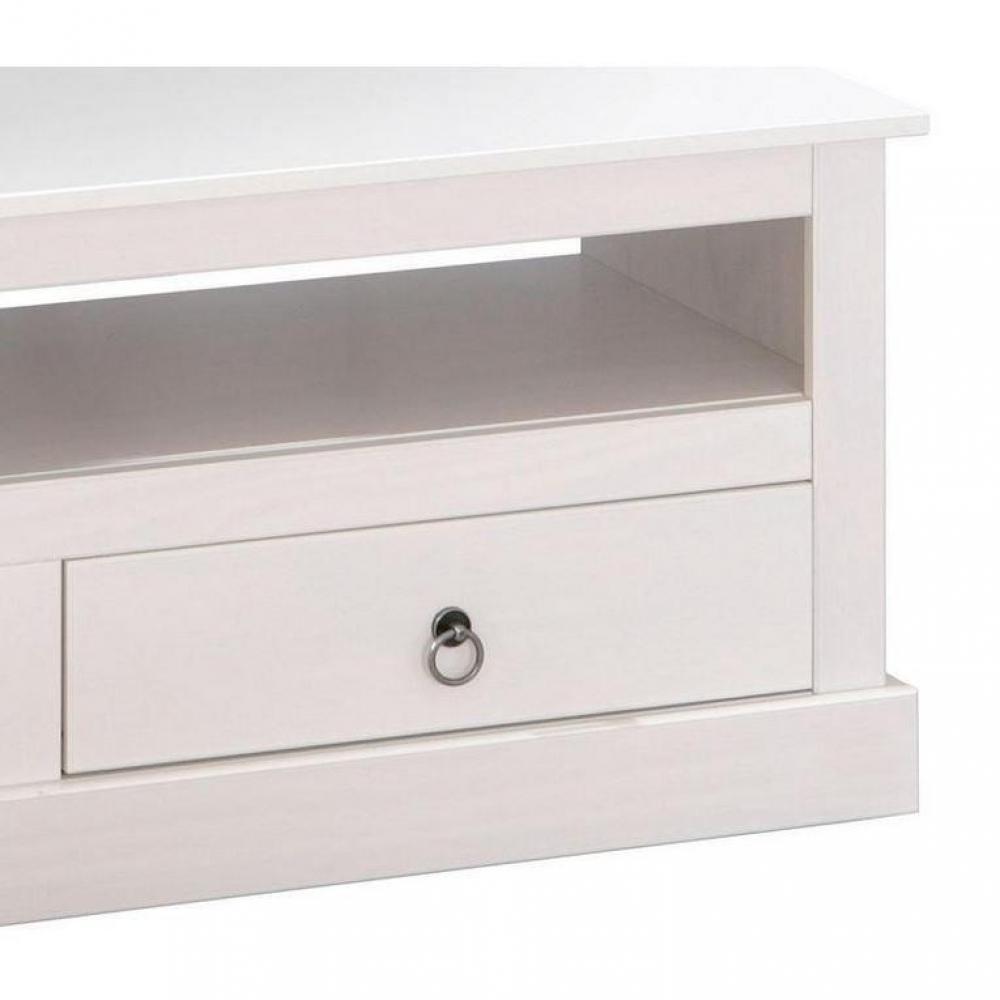 meubles tv meubles et rangements meuble tv provence blanc en pin massif inside75. Black Bedroom Furniture Sets. Home Design Ideas