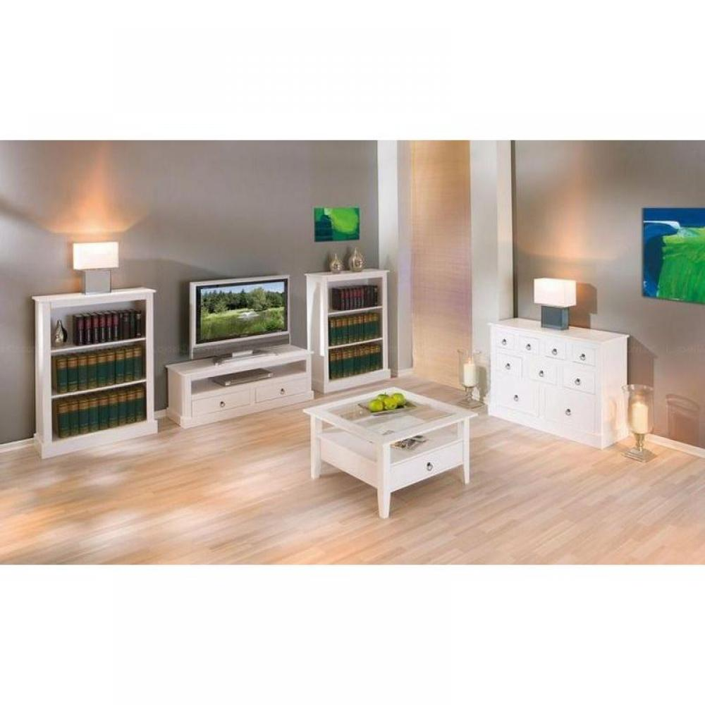 meubles tv meubles et rangements meuble tv provence blanc en pin massif inside75. Black Bedroom Furniture Sets. Home Design Ideas