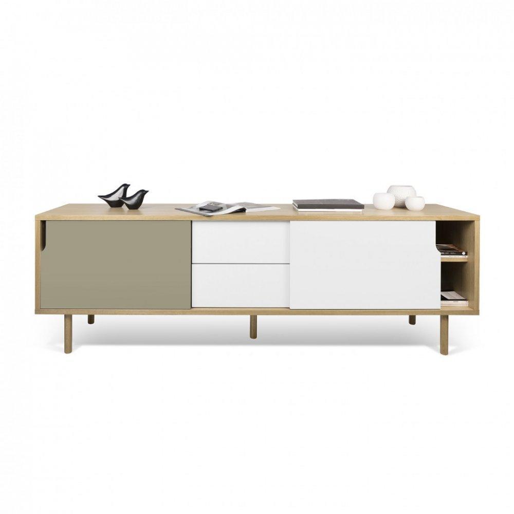 meubles tv meubles et rangements temahome meuble tv dann ch ne avec 2 portes coulissantes et 2. Black Bedroom Furniture Sets. Home Design Ideas