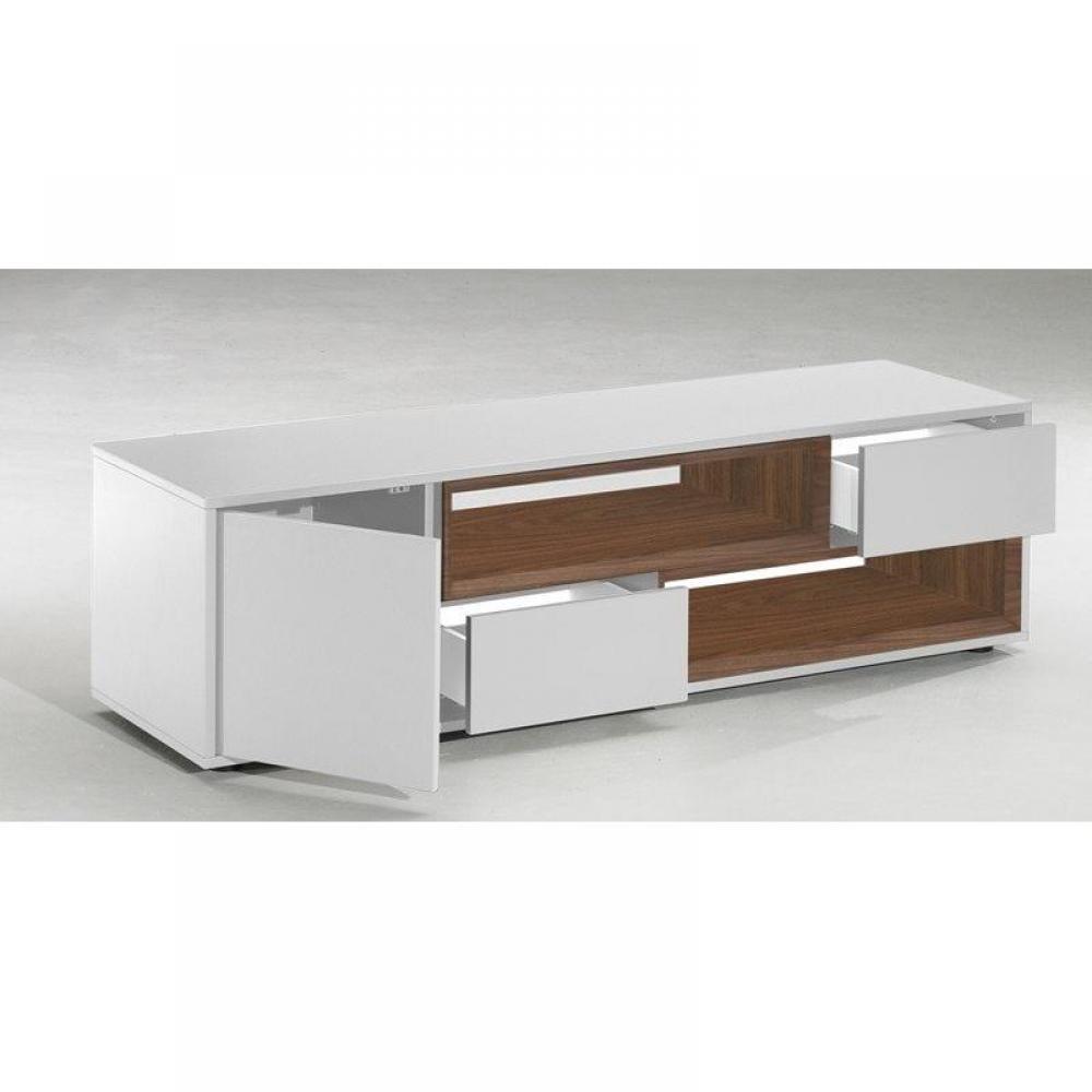 Meuble tv laqu blanc avec tiroirs sammlung for Meuble tv blanc tiroir