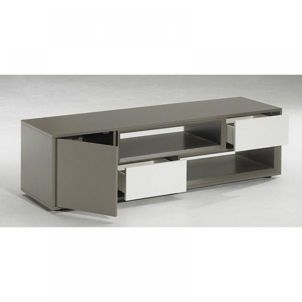 meubles tv meubles et rangements meuble tv design delta taupe blanc avec 2 niches 2 tiroirs. Black Bedroom Furniture Sets. Home Design Ideas