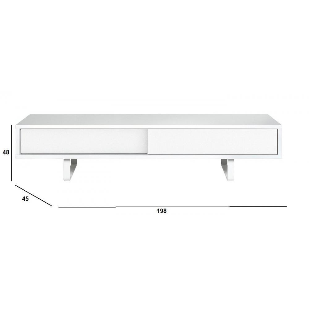 Meubles tv meubles et rangements temahome slide meuble tv design blanc mat - Meuble tv avec porte coulissante ...