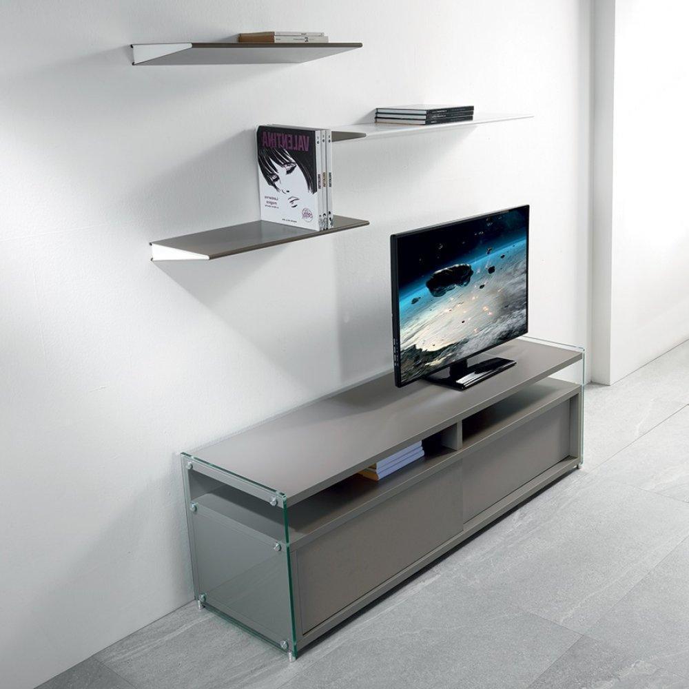 Meuble Tv Bas Taupe : Tv, Meubles Et Rangements, Meuble Tv Talac 2 Portes Coulissantes Taupe