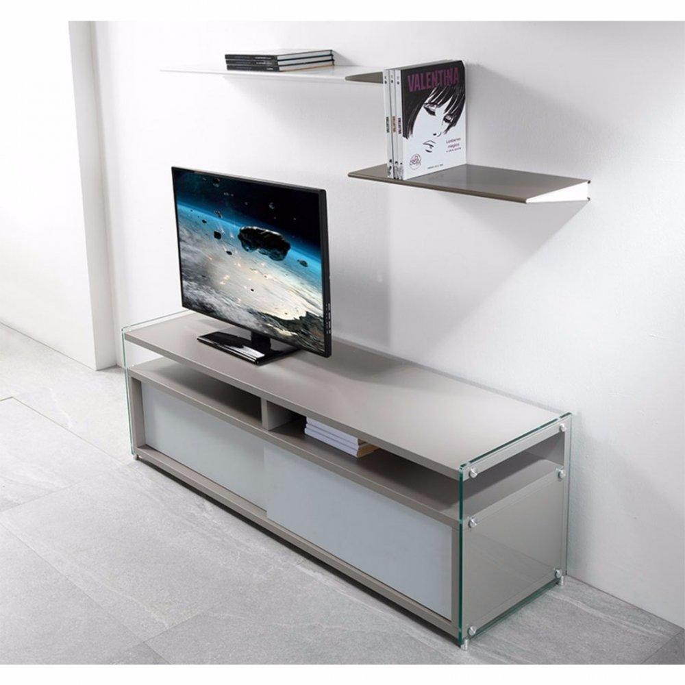 meubles tv meubles et rangements meuble tv talac gris. Black Bedroom Furniture Sets. Home Design Ideas