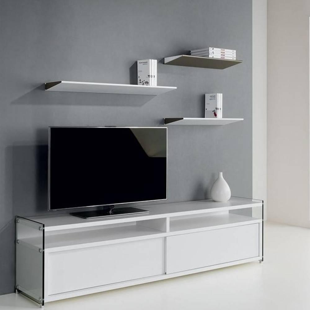 meubles tv meubles et rangements meuble tv talac 180 cm 2 portes coulissantes blanc mat inside75. Black Bedroom Furniture Sets. Home Design Ideas