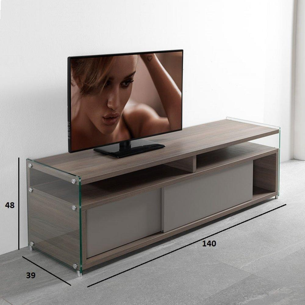 meubles tv meubles et rangements meuble tv talac 180 cm coloris orme avec 2 portes. Black Bedroom Furniture Sets. Home Design Ideas