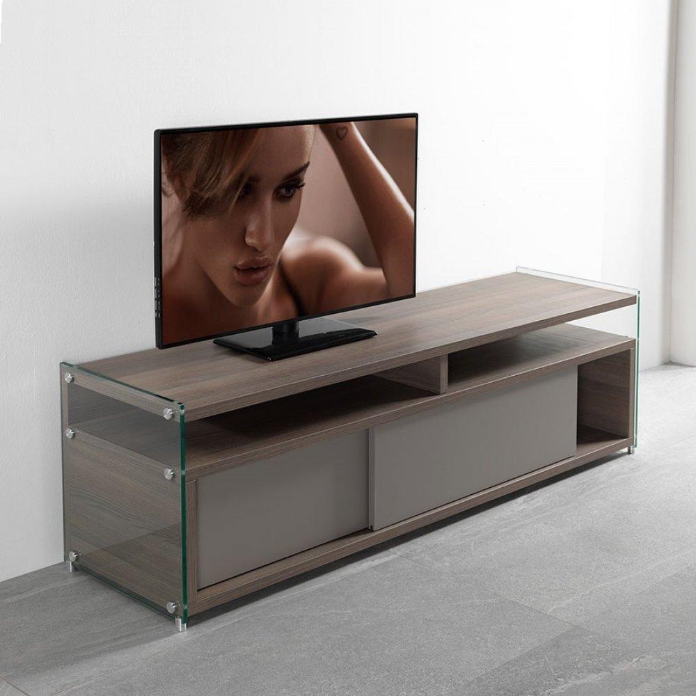 meubles tv meubles et rangements meuble tv talac coloris orme avec 2 portes coulissantes taupe. Black Bedroom Furniture Sets. Home Design Ideas
