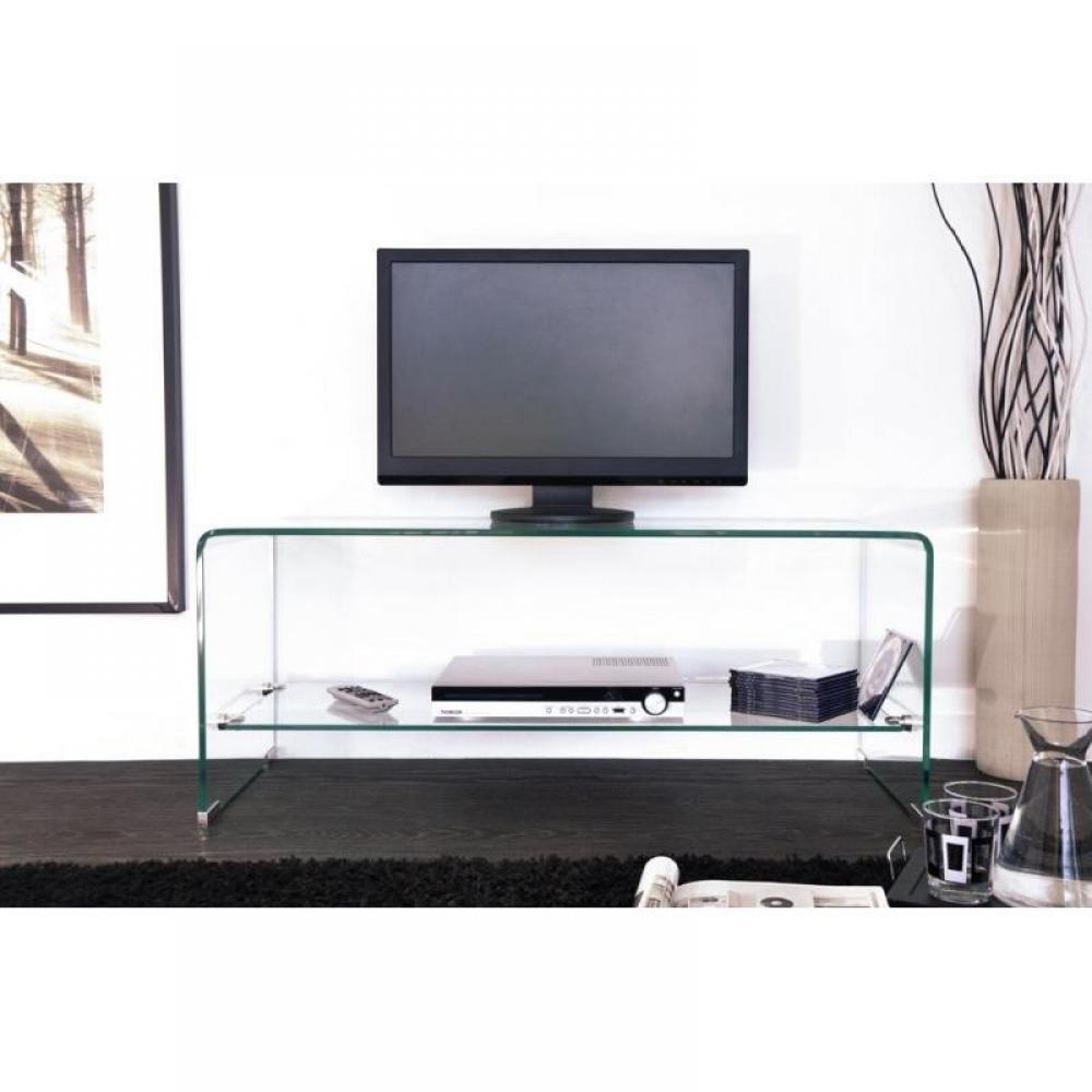 Meubles tv meubles et rangements meuble tv design side en verre tremp 12mm transparent inside75 - Meuble tv en verre transparent ...