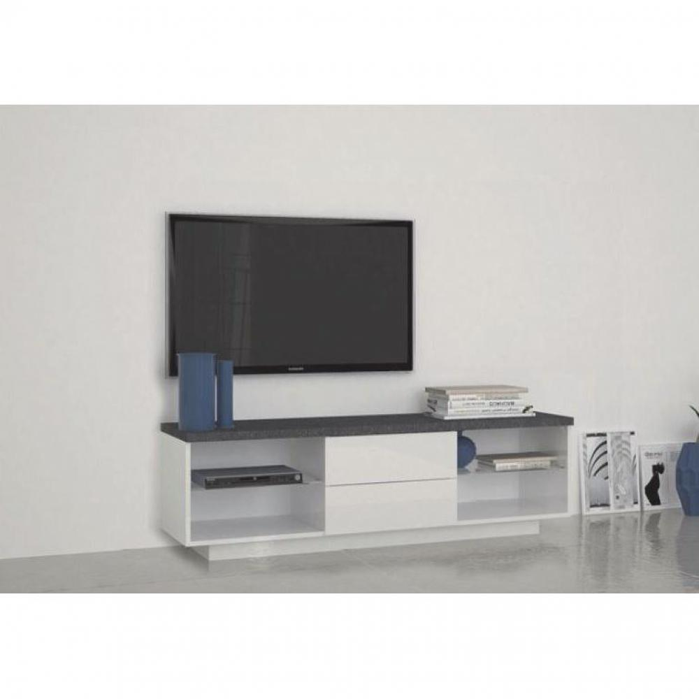 Promotion 20 meuble tv3 design treviso 2 tiroirs laqu for Achatdesign meuble tv