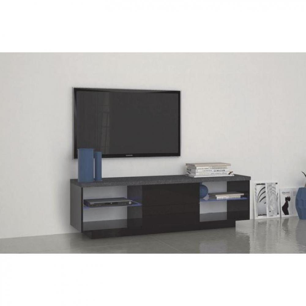 meubles tv meubles et rangements meuble tv3 design treviso 2 tiroirs laqu noir inside75. Black Bedroom Furniture Sets. Home Design Ideas