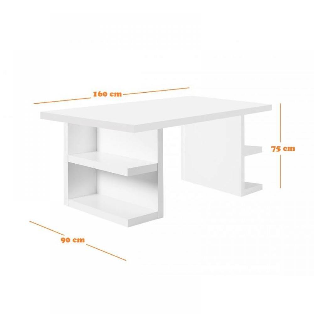 Bureaux meubles et rangements bureau design temahome for Grand bureau blanc laque
