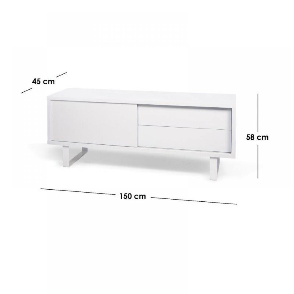 Meuble tv blanc laque avec tiroirs solutions pour la for Meuble tiroir laque blanc