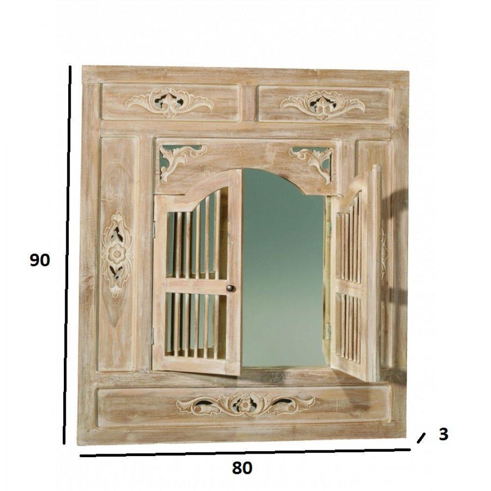 Miroirs meubles et rangements miroir colonial 2 portes for Miroir hauteur 90