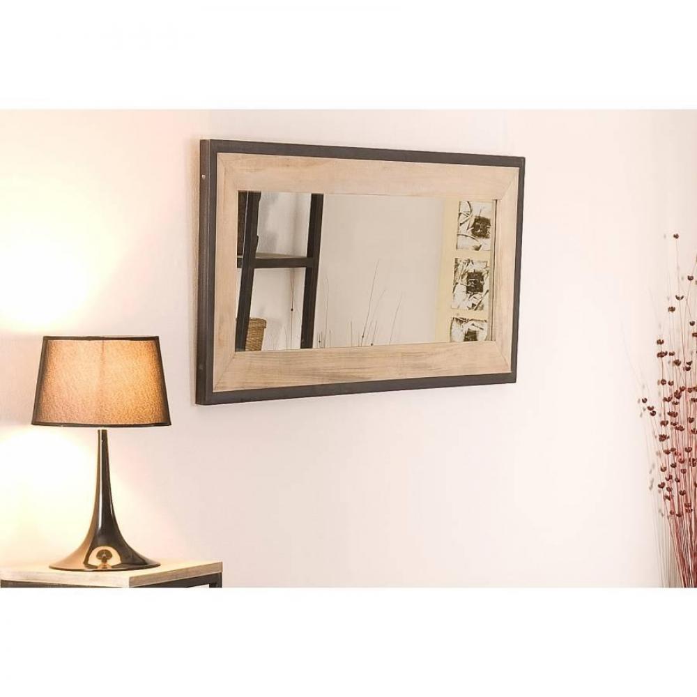 Miroirs meubles et rangements miroir rectangulaire lea for Miroir bois metal