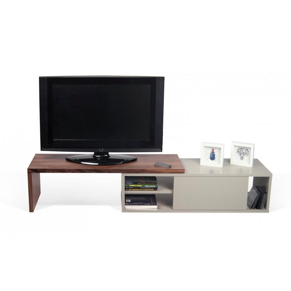 meubles tv meubles et rangements move meuble tv modulable noyer et gris avec1 porte. Black Bedroom Furniture Sets. Home Design Ideas
