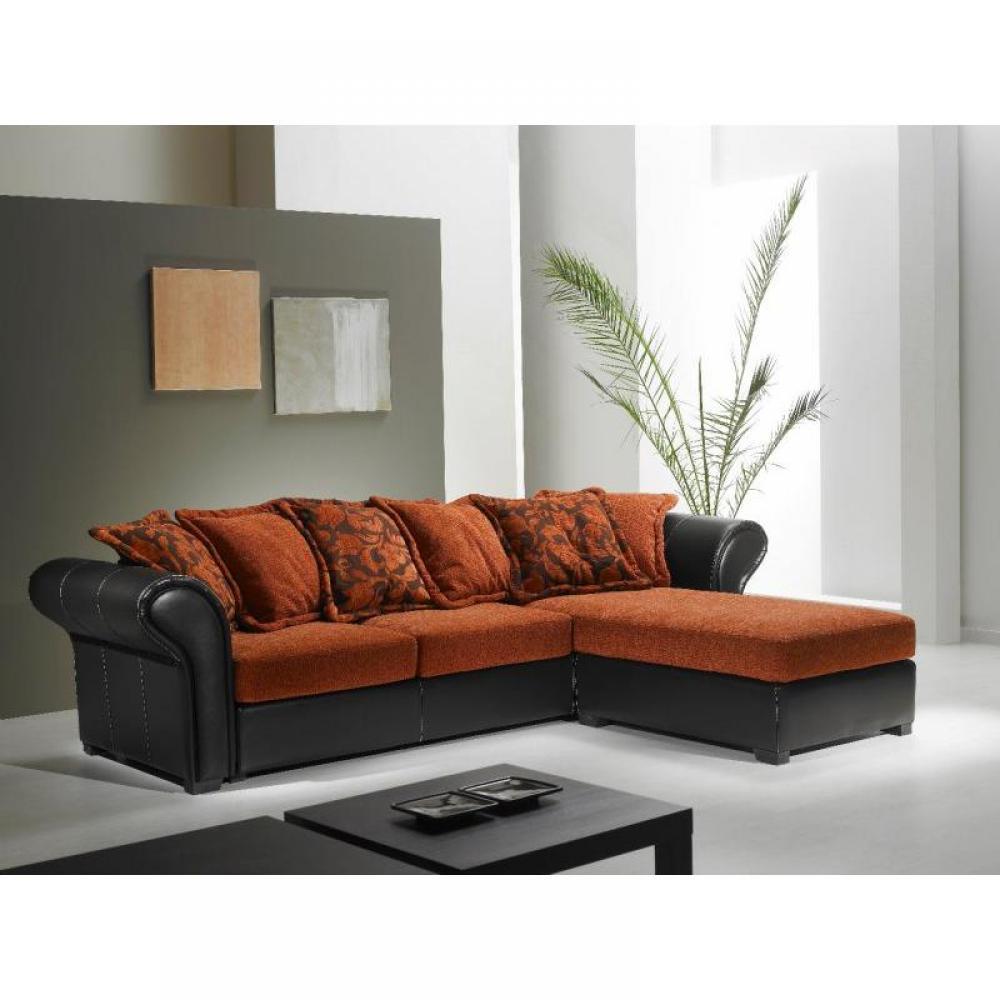 canap s fixes canap s et convertibles canap d 39 angle nepal tissu orange et cuir noir. Black Bedroom Furniture Sets. Home Design Ideas