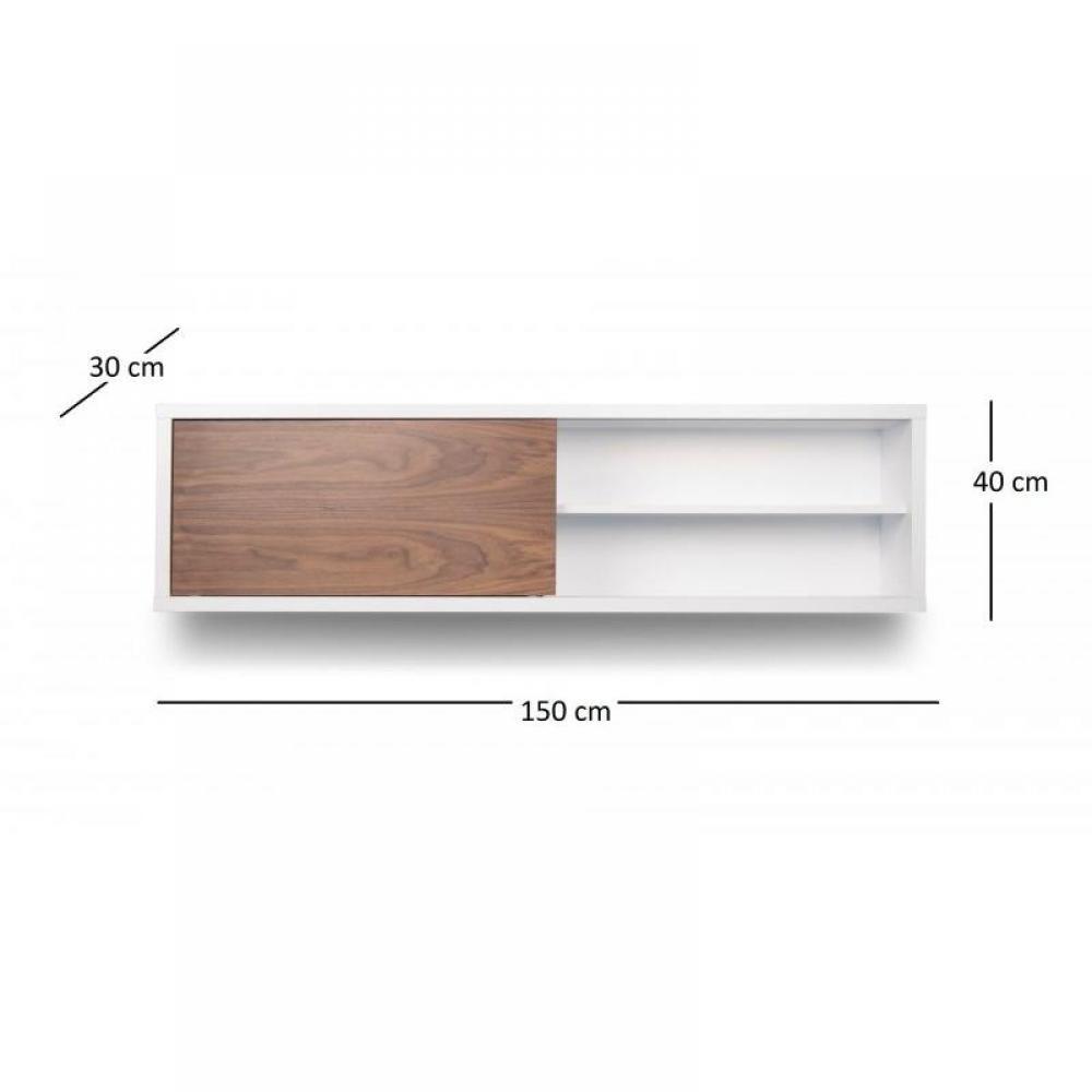 Nilo tag re horizontale murale blanche avec une porte coulissante noyer ebay - Etagere porte coulissante ...