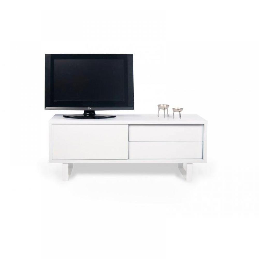 meubles tv meubles et rangements nilo meuble tv design blanc avec 1 porte coulissante 2. Black Bedroom Furniture Sets. Home Design Ideas